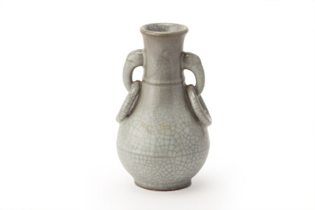A SMALL CRACKLE-GLAZED PEAR SHAPED VASE