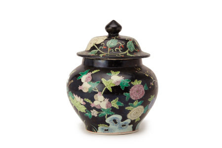 A FAMILLE NOIRE PORCELAIN JAR AND COVER