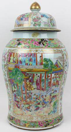 19th c Chinese Rose Medallion Covered Jar