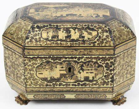 Chinese Lacquered Tea Box with Pewter Jars