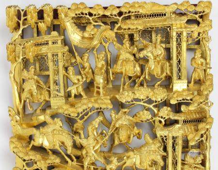 Chinese Carved Gilt Wooden Bas Relief Frieze