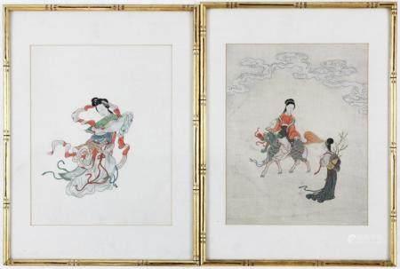 Pair of Asian Paintings on Silk