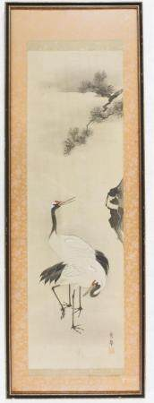 Chinese Watercolor on Silk of Cranes