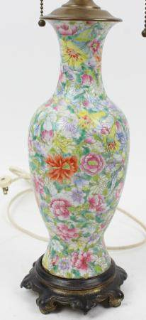 Chinese Famille Rose Enamel Table Lamp