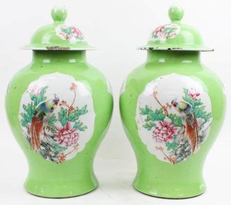 Pair of ca 1915 Chinese Green Baluster Jars