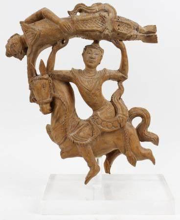 Carved Wooden Acrobats on Horseback