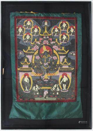 Chinese Painted Thangka on Silk Scroll