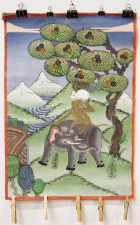 Asian Painting of Elephant, Monkey, & Rat