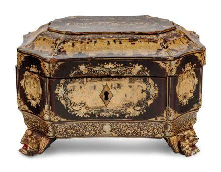 A Chinese Export Lacquered Work Box
