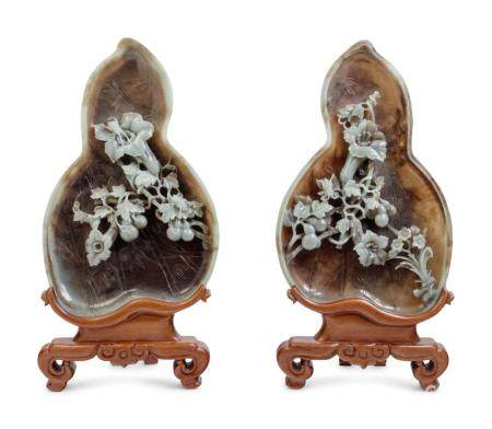 A Pair of Chinese Export Carved Jade Coupes with Stands