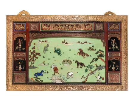 A Large Chinese Export Gilt Bronze-Framed Carved Lacquer and Hardstone Inlaid Wall Panel