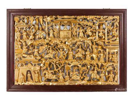 A Chinese Export Pierce Carved Giltwood Panel