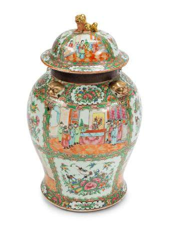 A Large Chinese Export Rose Medallion Porcelain Jar