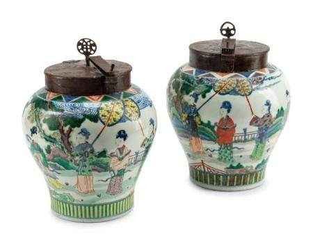 A Pair of Chinese Export Iron Mounted Famille Verte Porcelain Tea Jars