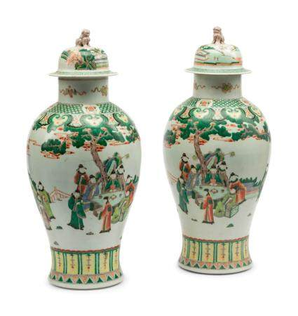A Pair of Chinese Export Famille Verte Porcelain Covered Jars