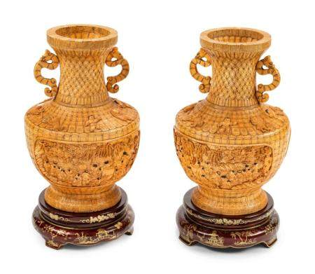 A Pair of Chinese Export Bone Veneered Vases on Painted Wood Stands