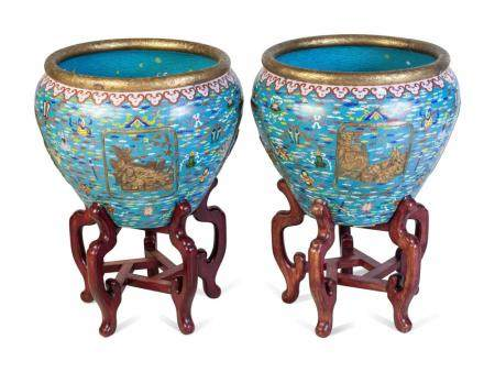 A Pair of Large Chinese Export Cloisonne Fish Bowls and Stands