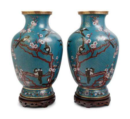 A Pair of Large Chinese Export Cloisonne Vases