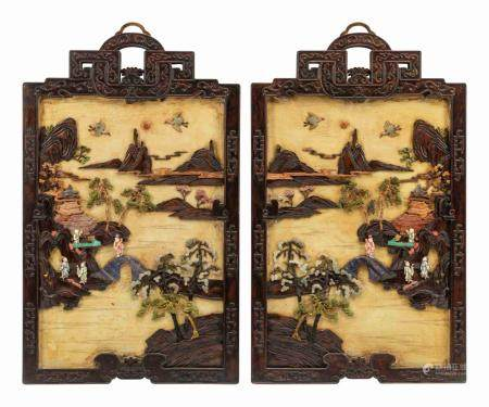 A Pair of Chinese Export Hardstone and Partial Lacquered Carved Wood Panels