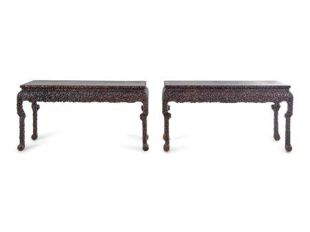 A Pair of Chinese Export Carved Hardwood Altar Tables