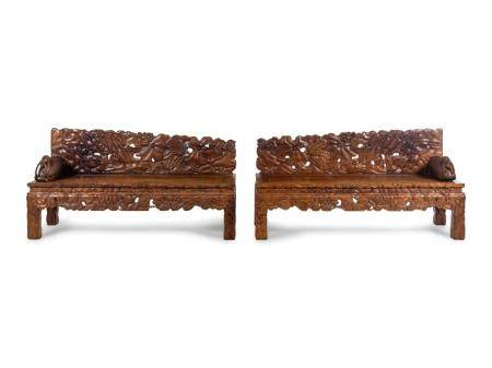 A Pair of Chinese Export Carved Hardwood Benches