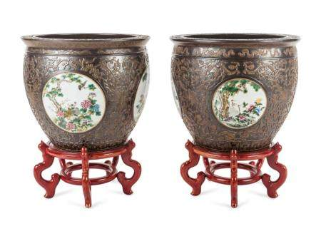 A Pair of Large Chinese Export Jardinieres with Stands