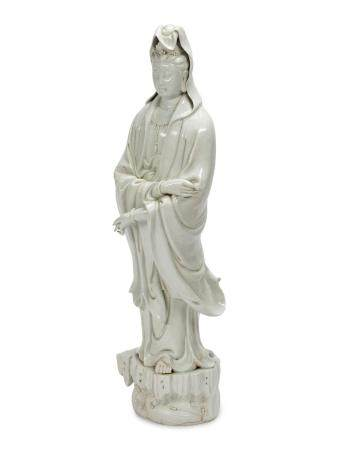A Large Chinese Export White Glazed Porcelain Figure of Guanyin