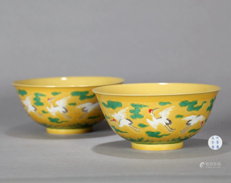Pair Yellow Ground Green Enameled Bowls Qing Dynasty