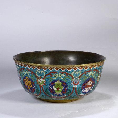 Cloisonne Enamel Bowl Qianlong Mark