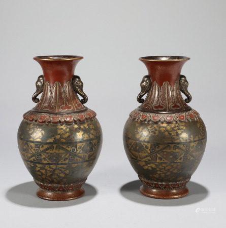 Pair Archaistic Form Porcelain Vases Qianlong Style