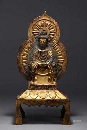 Bronze gilt seated shakyamuni