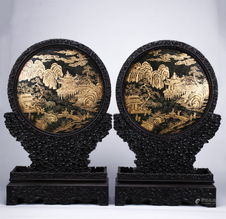 Pair Spinach Green Jade Table Screens