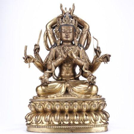 Bronze Gilt Multi Armed Guanyin