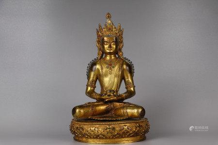 Bronze gilt shakyamuni