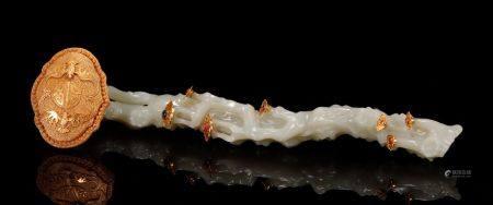 Qing Dynasty - Hetian Jade Wrap Gold Ruyi
