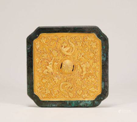 Tang Dynasty - Beast and Phoenix Pattern Gold Mirror