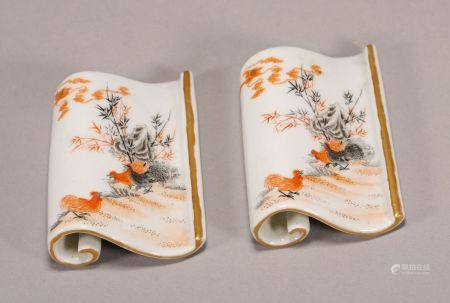 Qing Dynasty - Pair of Patterned Paperweight