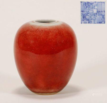 """Qing """"Qianlong"""" Era Red Glaze Jar"""