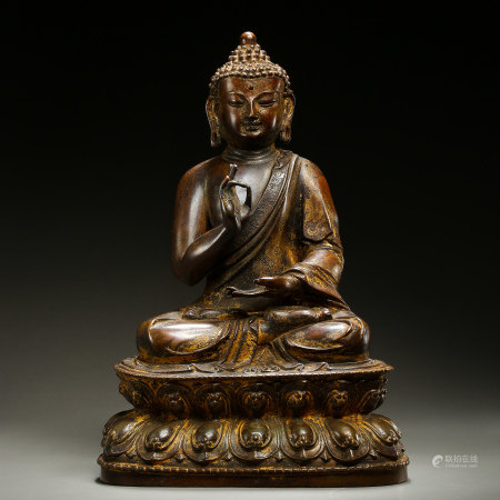 GILT BRONZE SEATED BUDDHA, CHINA