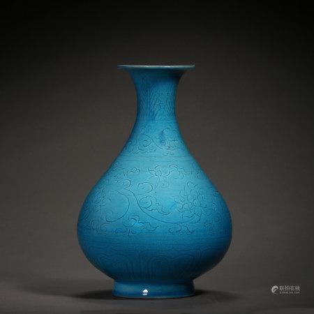 BLUE GLAZED POT, QING DYNASTY, CHINA