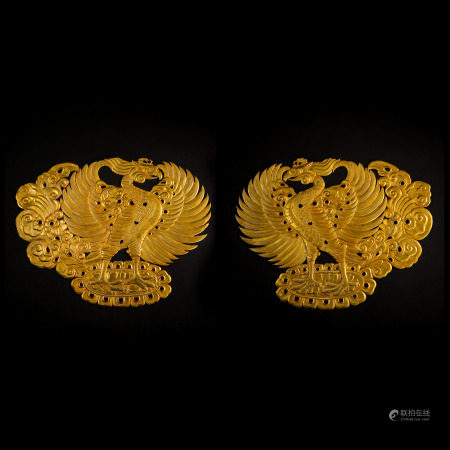 A PAIR OF PURE GOLD PHOENIXES FROM EARLY TANG PERIOD OF THE FIVE DYNASTIES OF CHINA