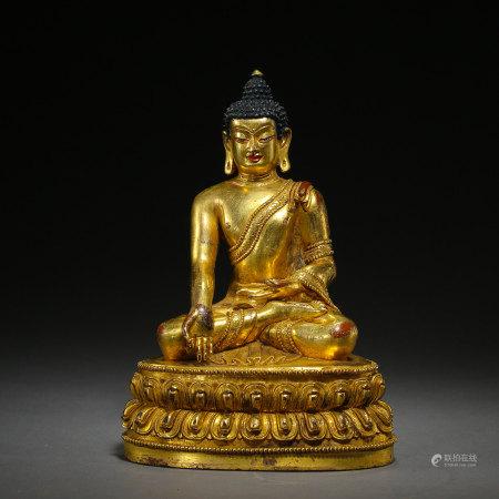 SEATED GILT BRONZE BUDDHA, QING DYNASTY, CHINA