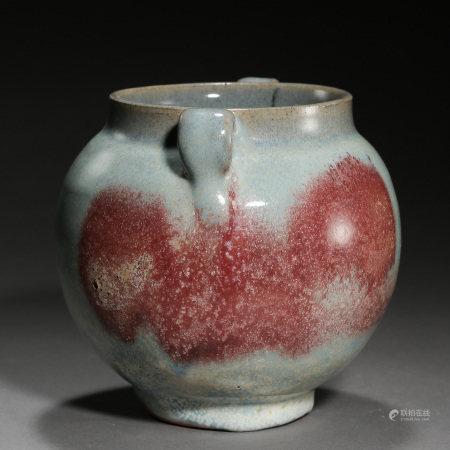 JUN KILN DOUBLE HANDLE JAR, YUAN DYNASTY, CHINA