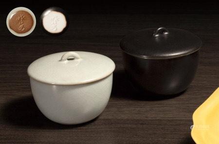 曉芳窯 早期汝窯黑釉凝翠蓋杯