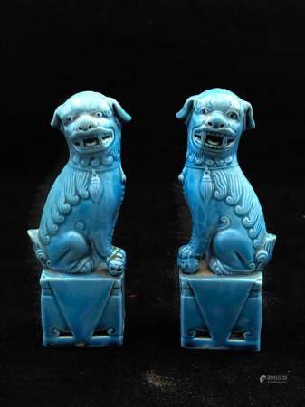 Chine - Paire de chien de Fô en céramique bleue turquoise. Hauteur: 12 cm.
