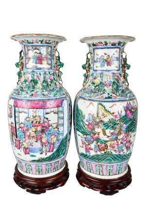 PAIR OF CHINESE 'FAMILLE ROSE' PORCELAIN VASES