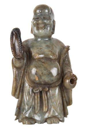 CHINESE CARVED GREEN STONE FIGURE