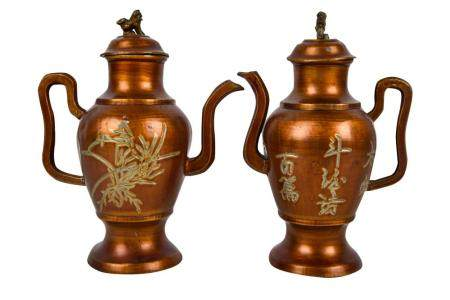 PAIR OF CHINESE LACQUERED PEWTER WINE PITCHERS