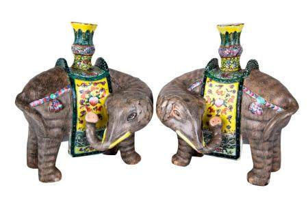 PAIR OF CHINESE PORCELAIN ELEPHANT-FORM CENSERS