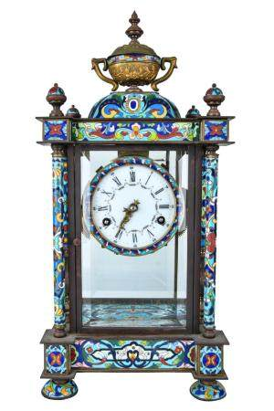CHINESE CHAMPLEVE ENAMEL MANTEL CLOCK